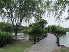 a park (VERUSHKA4) Tags: astoundingimage canon asia china shaghairegion village nature park vue view path way bridge verdure greens green may spring travel chinese ciel sky tree stone water eau river grey trunk branch grass leaf bush woodenfence wooden