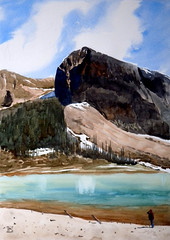 A Scene in Icefields Parkway 3, 2019-06-13 (light and shadow by pen) Tags: landscape watercolor icefieldsparkway art
