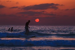 Surfer at sunset - Tel-Aviv beach (Lior. L) Tags: surferatsunsettelavivbeach surfer sunset telaviv beach