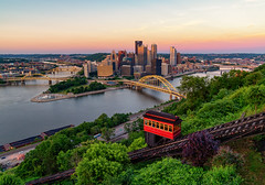 The Duquesne Incline and Pittsburgh Sunset Skyline (Tony Webster) Tags: alleghenyriver duquesneheights duquesneincline funicular monongahelariver mtwashington ohioriver pennsylvania pittsburgh theduquesneincline skyline unitedstatesofamerica