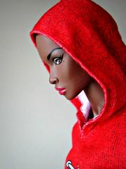 Red Riding Hood (Deejay Bafaroy) Tags: fashion royalty fr integrity toys doll puppe adele makeda timeless black schwarz portrait porträt barbie hoodie kapuzenshirt red rot