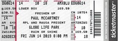 June 14, 2019, Paul McCartney, in concert, Freshen Up Tour, Globe Life Park, Arlington, Texas - Ticket Stub (Joe Merchant) Tags: june 14 2019 paul mccartney concert freshen up tour globe life park arlington texas ticket stub