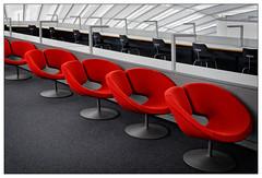 Red chair (frodul) Tags: architektur balkon detail gebäude innenansicht kurve linie berlin bibliothek freieuniversität philologischebibliothek normanfoster wissenschaft konstruktion gebäudekomplex dach deutschland rot red chair