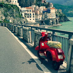 What a view !! (CJS*64) Tags: italy europe european cjs64 craigsunter travel travelling colour colours amalfi amalfycoast scooter vespa red view transport parked parkedup