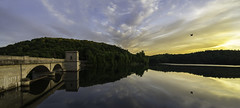 Prettyboy Reservoir & Dam Panorama (mbinebrink) Tags: prettyboydam prettyboy dam sony a7ii tamron landscape sunset clouds water reflections reservoir trees forest parapet powerhouse