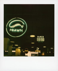 Prawn Neon (tobysx70) Tags: polaroid originals color 600 instant film slr680 prawn coastal casual grand central market broadway dtla downtown los angeles la california ca neon sign lit illuminated mark peel seafood food restaurant ramen hood eggslut berlin currywurst sausages vanishing point toby hancock photography