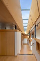 View down art-gallery hallway
