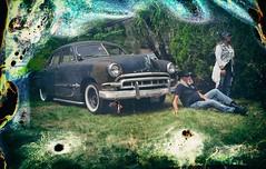 Just Chillin (Crusty Da Klown) Tags: car vintage retro lawn people bc britishcolumbia canada minolta koak expired film