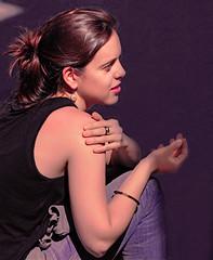Enjoying the sun (chrisk8800) Tags: girl youngwoman inthesunlight candid street barcelona