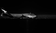 flight qf 4 to sydney holds for departure (pbo31) Tags: bayarea california nikon d810 june 2019 boury pbo31 spring sanfranciscointernational sfo burlingame sanmateocounty night black airport dark airline travel aviation plane flight departure runway boeing 747 qantas blackandwhite monochrome holding sydney