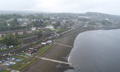 HST passing a misty West Ferry (robmcrorie) Tags: 1z10 scotland phantom 4 west ferry dundee river tay high speed train liner class 43 beach yacht club