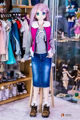 Nanoha - Denim Skirt Outfit (GabrielVH) Tags: 50mm 7d bjd canon cute dd denim dollfie dollfiedream greeneyes nanoha puffervest purplehair skirt volks