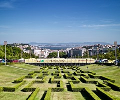 Lisbon perspective from Edward VII garden Top: Center, Tagus River and the other river bank