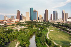 Downtown Houston Skyline from above Buffalo Bayou (RaulCano82) Tags: mavicair mavic drone air aerial photography city cityscape downtown houston htx htown hou houstontx houstontexas houstonskyline downtownhouston raulcano park greenery landscape buffalobayou summer