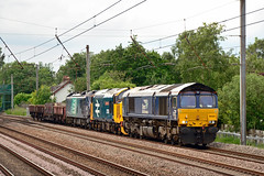 66433 37424 88010 6K05 Euxton (British Rail 1980s and 1990s) Tags: train rail railway loco locomotive lmr londonmidlandregion mainline wcml westcoastmainline lancs lancashire livery preston liveried traction diesel drs directrailservices 6k05 88 class88 electric ac electrodiesel 66 class66 66433 88010 aurora 37424 37558 ee englishelectric type3 br britishrail growler tractor 37 class37 largelogo