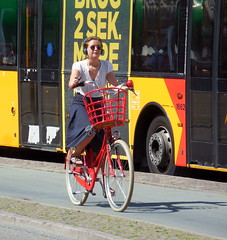 Friday 4pm and a very stylish Copenhagen girl cycles in traffic (sms88aec) Tags: friday 4pm very stylish copenhagen girl cycles traffic