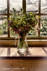 Old Time Bouquet (Holfo) Tags: hdr nationaltrust antique attingham bunchofflowers shropshire statelyhome windowsill faded memories pale washedout beautiful nikon d750 old longago stunning