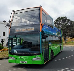 The Downs Breezer doesn't run on the Festival weekend so that 1401-1403 can be used as shuttle buses at the Isle of Wight Festival. Here is 1402 on Ryde Esplanade while about load up with Festival goers. - HF09 FVV - 14th June 2019 (Aaron Rhys Knight) Tags: islandbreezer southernvectis 1402 hf09fvv 2019 rydeesplanade ryde isleofwight gosouthcoast goahead scanian230udomnicity optarevisionaire