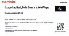 Escape-ism w/ Nevil, Dollar General - Hotel Vegas, Austin, TX, February 27, 2019 (robotcosmonaut) Tags: escapeism nevil dollargeneral hotelvegas austin texas ticket