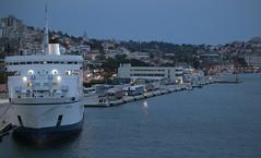 Evening in port (dramadiva1) Tags: crete port ship evening dusk lights mediterranean