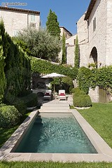FALBA034 (pilfering perfection) Tags: spello umbria italy andreafalknercampi outside day nobody exterior buildingexterior architecture italian villa holidayhome umbrian oldbuilding stone swimmingpool water plungepool backgarden grounds hillside tree nature sunny leisure verticalimage