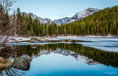 Blue Hour at 10,000 Feet (Greg Lundgren Photography) Tags: rockymountainnationalpark nationalpark colorado estespark bearlake bluehour twilight june spring reflection mountains landscape roadtrip vacation nature ice snow mirror