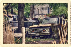 Fenced In (* Gemini-6 * (on&off)) Tags: truck ford rust patina decay abandoned vehicle transportation framed hdr fence chrome pickup