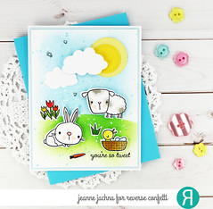 Sweet Sheep (akeptlife) Tags: reverseconfetti card cardmaking stamping stamp papercrafting craftdie bunny lamb scene springpals sunnclouds flowersformom detailedcircles