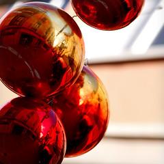 Yuletide Baubles Espanynol (hogsvilleBrit) Tags: palamos palamós spain christmas red christmasdecoration reflection ball sphere square