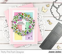 Spring Greetings (akeptlife) Tags: prettypinkposh card cardmaking craftdie stamping stamp filmstrip springwreath wreath floralwreath