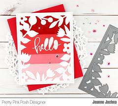 Floral Frame Hello (akeptlife) Tags: prettypinkposh card cardmaking craftdie colorblock colorblocking helloscript worddie hellofriendscript stitchedbordersthree springframedie frame