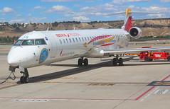 "Iberia Regional (Aviacion Sin Fronteras Livery)  EC-LJS Bombardier CRJ-1000 flight IB8721 arrival at Madrid MAD Spain from Algiers ""Houari Boumediene Airport"" ALG Algeria (Cupertino 707) Tags: iberia regional aviacionsinfronteraslivery ecljs bombardier crj1000 flight ib8721 arrival madrid mad spain from algiers houariboumedieneairport alg algeria"