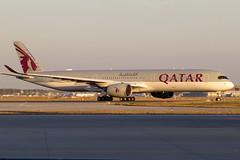 Qatar Airways - A350-1041, A7-ANC (Bernd 2011) Tags: qatarairways airbus a350 a3501041 fra eddf a7anc sunset taxiing canon powershot sx50hs aviation