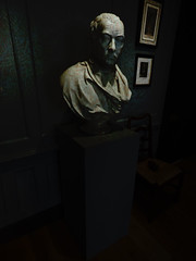 Handel's Bust (Steve Taylor (Photography)) Tags: digitalart bust sculpture picture painting black green lowkey stark white marble man uk gb england greatbritain unitedkingdom london texture 25brookstreet brookstreet georgefriderichandel handel handel'shouse mayfair panelling