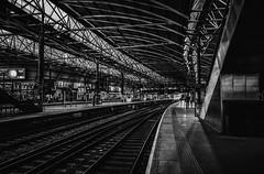 leeds station copy- on1 (douglasjarvis995) Tags: leeds yorkshire bnw mono monochrome train station railway ricoh grii
