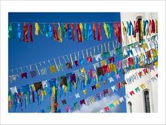 Little Flags (W Gaspar) Tags: juizdefora minasgerais minas brazil brasil southamerica latinamerica photoborder flags urban colored nikon nikkor v1 1030mm church sky tradition june party