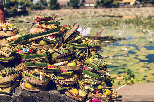 Balinese offerings to Gods. East of Bali island, Candidasa. Indonesia.