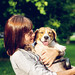 Woman with her cute beagle dog