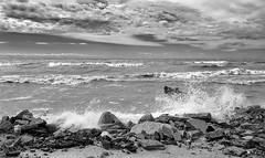 Splash (mswan777) Tags: shore coast rock water waves splash crash spray wind horizon sky cloud apple iphone iphoneography mobile michigan ansel monochrome black white