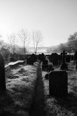 Down the path (bengelliott) Tags: uk tombstone graveyard gothic