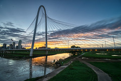 Good Morning Dallas! (tquist24) Tags: dallas hdr margarethunthillbridge nikon nikond5300 outdoor texas trinityriver architecutre bridge city cityscape clouds dawn downtown flag flagpole geotagged lights morning reflection reflections river sky skyline sunrise urban water