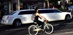 Bike vs. limo (thomasgorman1) Tags: bike limo traffic woman rider street nikon people streetphotos streetshots public city honolulu oahu hawaii island sunlight white long limousine waikiki