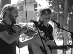 Smile on Saturday (sariegould) Tags: smileonsaturday musicinbw musicians fiddle guitar