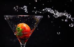Strawberry (Bernie Condon) Tags: strawberry glass water red black flash studio drops