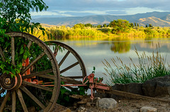 old farm equipment near the snake river (Sam Scholes) Tags: earlymorning idaho wagonwheels farm rupert snakeriver wagon