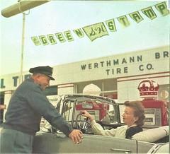 Werthmann Bros. Tire Co. 1958 (STUDIOZ7) Tags: standard oil gas gasoline service station shgreenstamps tradingstamps car automotive 1950s 50s fifties redcrown globe pump