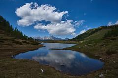 Il laghetto effimero (paolo-p) Tags: montagna mountain acqua water laghi lakes nuvole clouds riflessi reflections caserarazzo vigodicadore