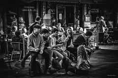 """""""The Next Generation"""" (Pensioner Percy, very slow at the moment) Tags: nikon d750 bw keswick lakedistrict street 24120mm generation young shop dxo food lunch youngsters people sitting acdsee pensionerpercy boy girl"""