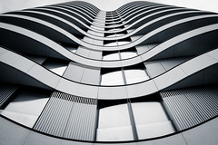 Undulating Architecture (The Green Album) Tags: vauxhall bridge luxury apartments london modern contemporary architecture curves windows undulating fujifilm xt2 monochrome bw