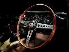 A classic (I line photography) Tags: classiccar jaguarcars jaguar etype etypejag 1969 wood leather instrumentpanel instrument reflection gearlevers gearstick alluminium steeringwheel